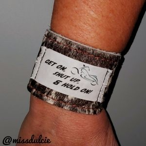 Hair on Hide Leather Cuff Bracelet Motorcycle